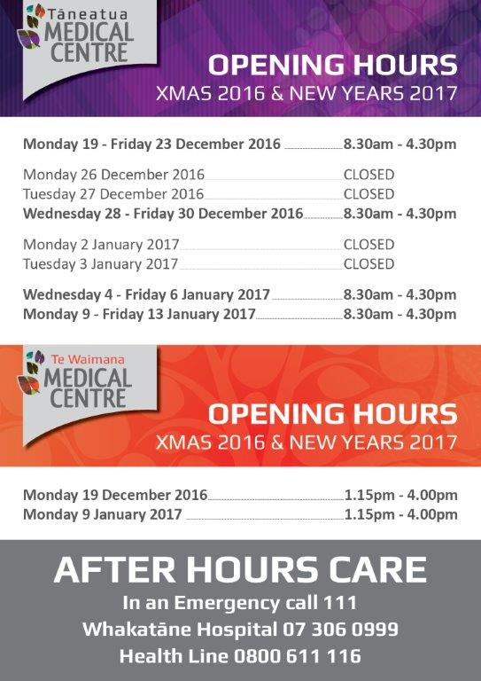 TMC Christmas and New Year Opening Hours 2017